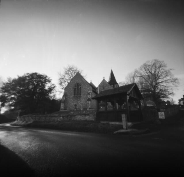 pinhole Church at Longstock, Hampshire - Ilford 100
