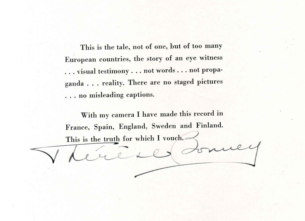Firma de Thérèse Bonney en un ejemplar de su libro Europe´s Children