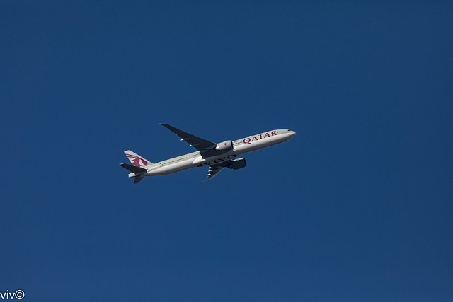 Gradually back to post Covid life - this morning's Qatar Airways Boeing 777-3DZ takes off from Sydney for Doha after off loading returning Australian residents and taking outbound passengers, Sydney, New South Wales, Australia - on Explore 27 Mar 2021