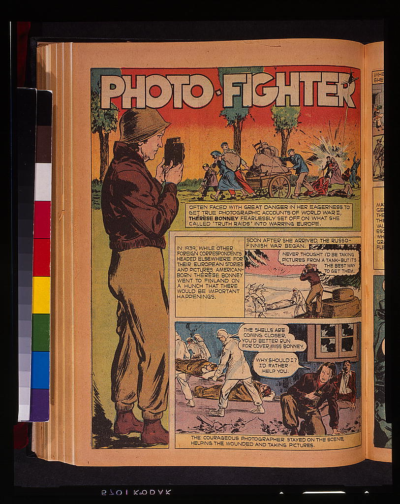 Photo-Fighter. Cómic basado en la fotógrafa Thérèse Bonney en 1944. The Library of Congress of the United States of America