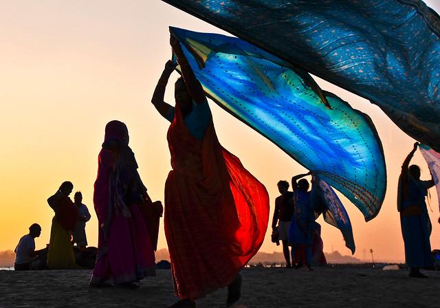 Drying Saris, India
