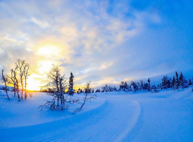 Sunset skiing. Gausta, Norway. In explore