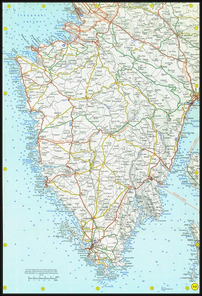 s02 8357 MapsJAZU Istra Atlas jugoslavenske jadranske obale od Kopra do Ulcinja anno 1964. Petar Mardešić (ur.) Jugoslavenski leksikografski zavod