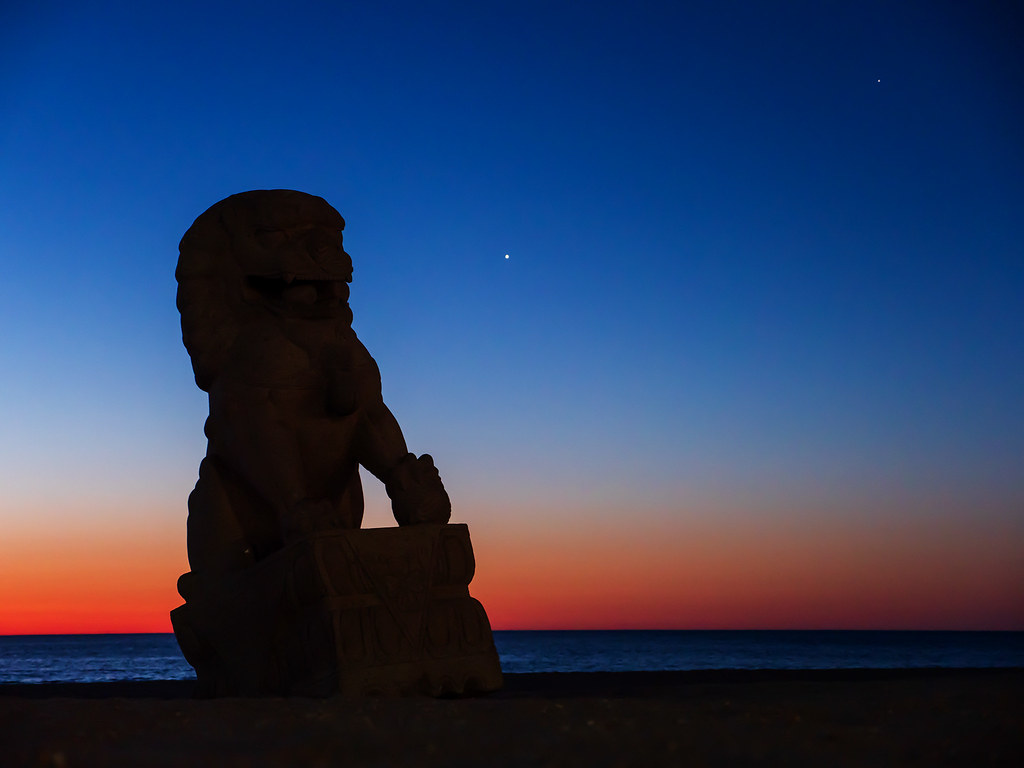 Jupiter and Saturn Above the Beach in Long Branch, New Jersey