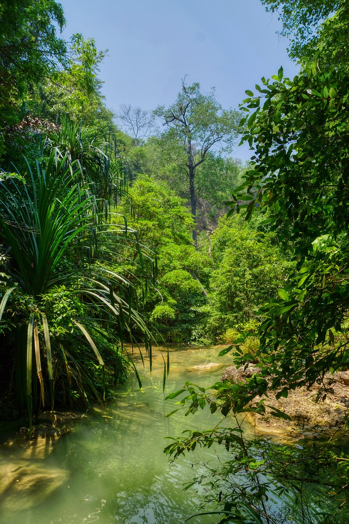 Pools at Erawan waterfalls in Kanchanaburi in Thailand