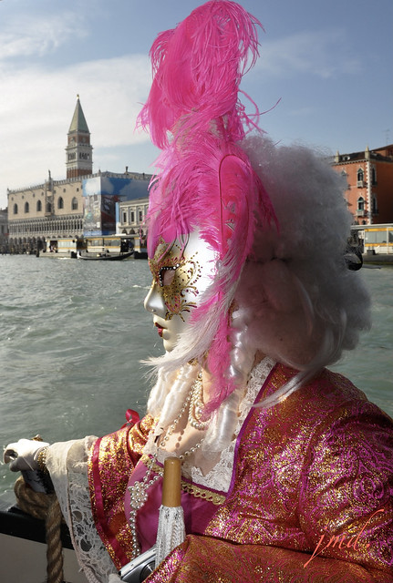 Emplumée rose à bord du vaporetto, carnaval de Venise, Venise, Italie  / Feathered pink on board to the vaporetto, Venice carnival, Venice, Italy