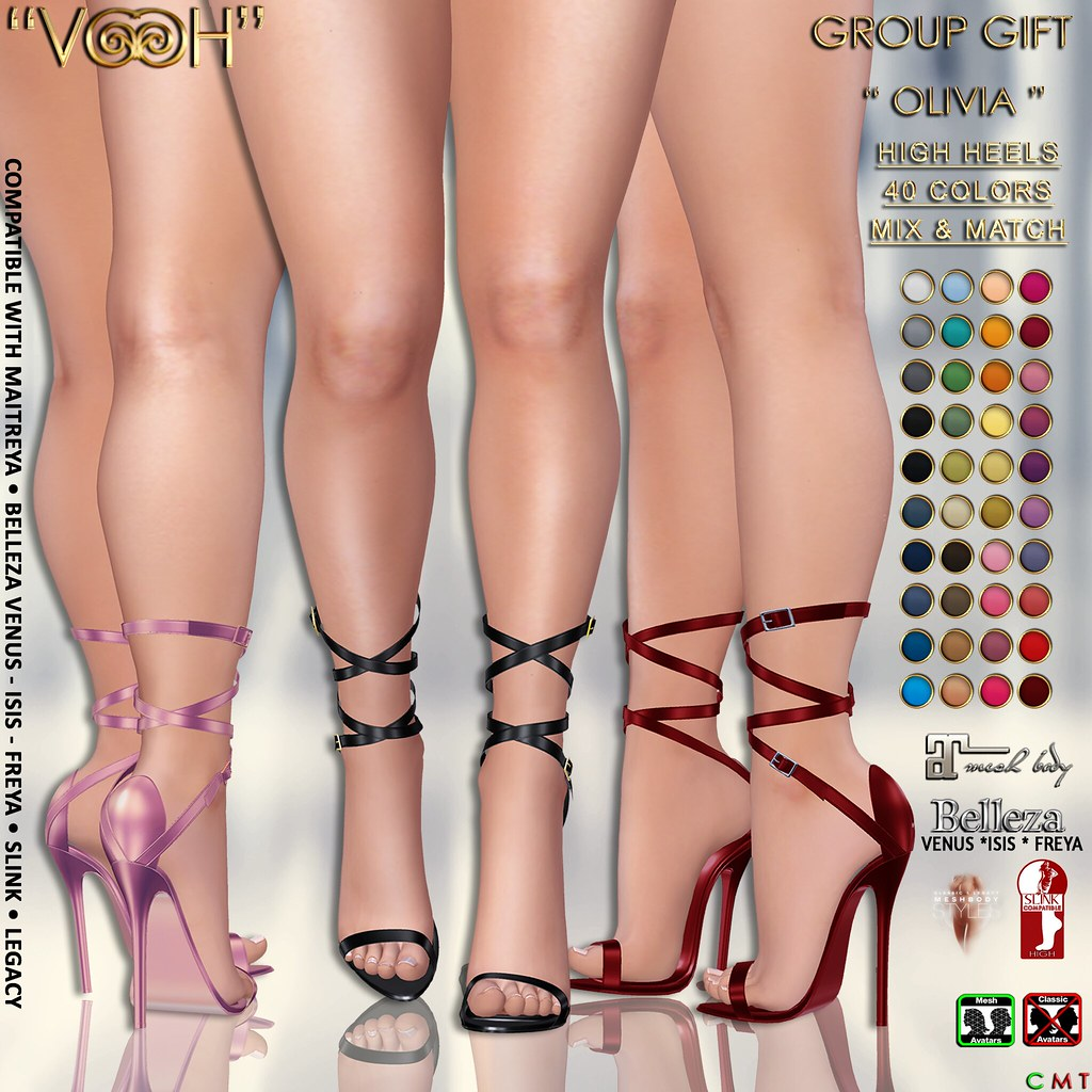 """ VOOH "" OLIVIA HIGH HEELS GROUP GIFT {BELLEZA • MAITREYA • SLINK • LEGACY}"