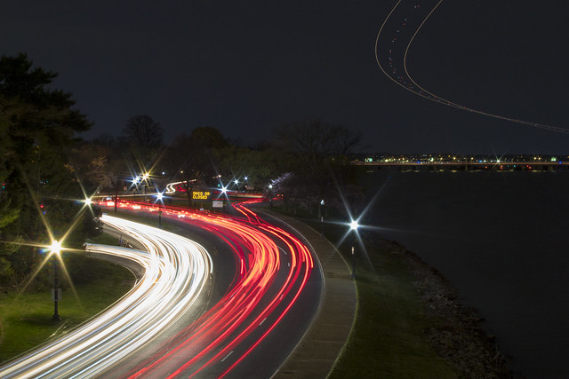 Light trails from Ohio Drive and the skies above