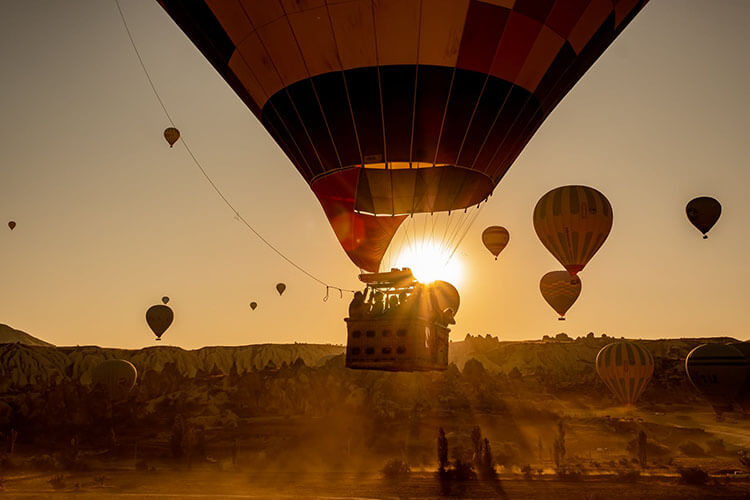 sunset view from hot air balloon experience