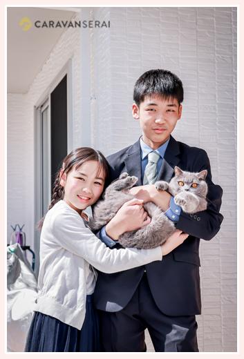 兄弟写真 ペットの猫ちゃんと一緒に