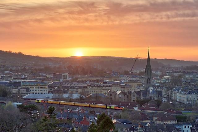 Stella and Charlotte test train heads through Bath just as the sun is setting.....