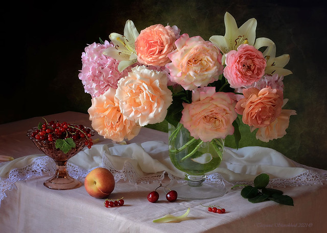 Still life with a bouquet of roses and fruits