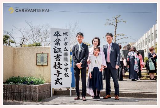 小学校卒業記念の家族写真