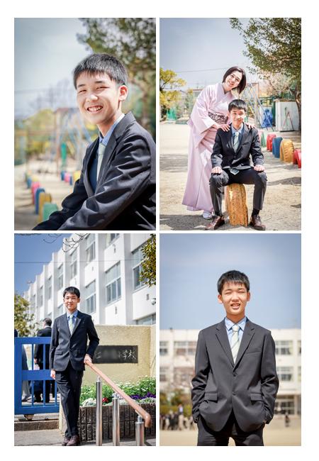 小学校卒業記念の家族写真 ママは着物