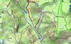 Carte IGN de la basse vallée du Cavu avec les traces des travaux d'entretien du PR3 et de la montée PR4/PR5 à la cascade de Piscia Cava + la localisation des marches au Ponti di Marionu