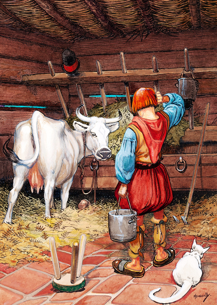 HASSALL, John. Boy with Pail and Cow in Barn, Fairy Tales from Wonderland, c. 1920s