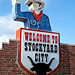 Welcome sign, Stockyard City, OK