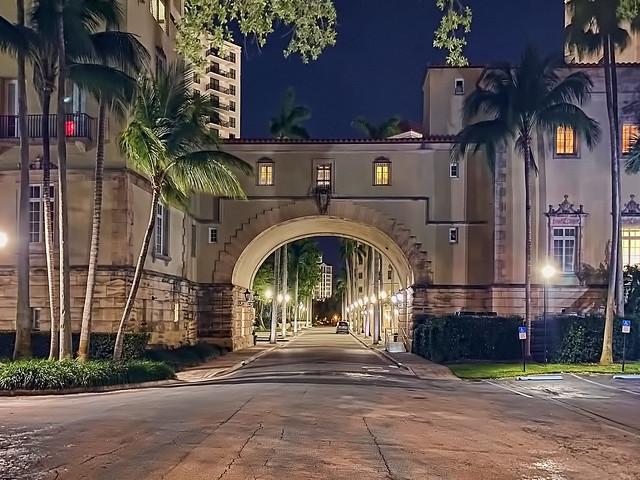 Douglas Entrance, 804 S Douglas Road, Coral Gables, Florida, USA / Built: 1924 / Architect: Phineas Paist / Designers: Denman Fink + Walter De Garmo / Floors: 3 / Added NRHP: September 22, 1972