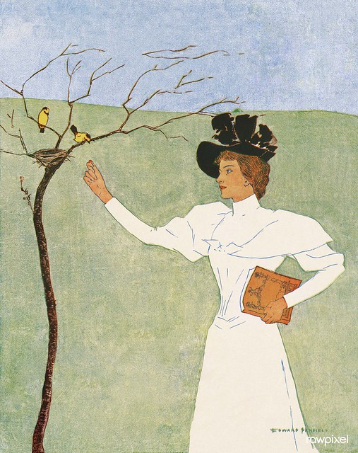 Woman reaching for birds (1894) print in high resolution by Edward Penfield. Original from Library of Congress. Digitally enhanced by rawpixel.
