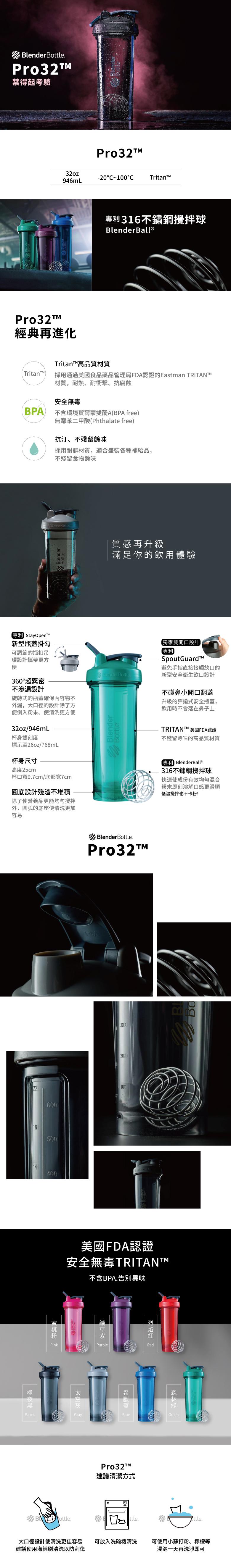 Blender Bottle 《Pro32系列》高透視機能搖搖杯-浩克(綠)