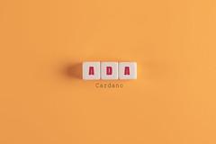 Cardano (ADA) Banner. Block Letters on Orange Background. Minimal Aesthetics.