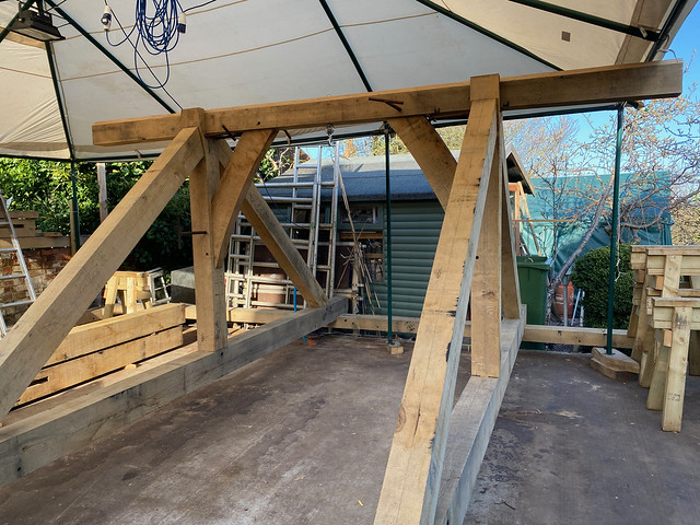 Trusses, ridge and braces in place - 1