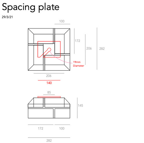 Post base brickwork - spacing plates