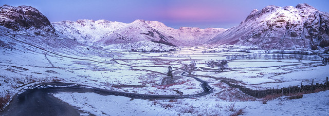 Winter dawn in the Langdale Pikes