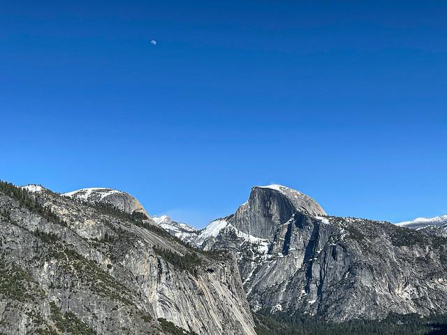 Half Dome and a Half Moon