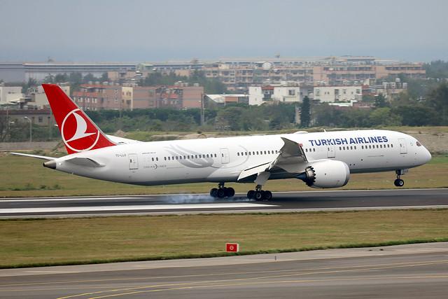 Turkish Airlines B787-9 TC-LLO landing TPE/RCTP