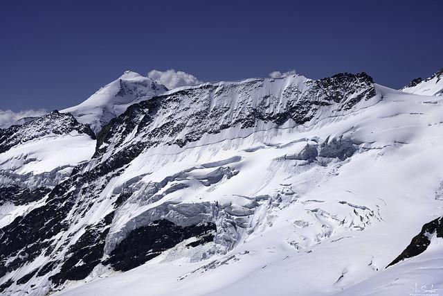 Mountain glacier view from the Jungfraujoch Sphinx Observation Deck - Bern/Wallis - Switzerland