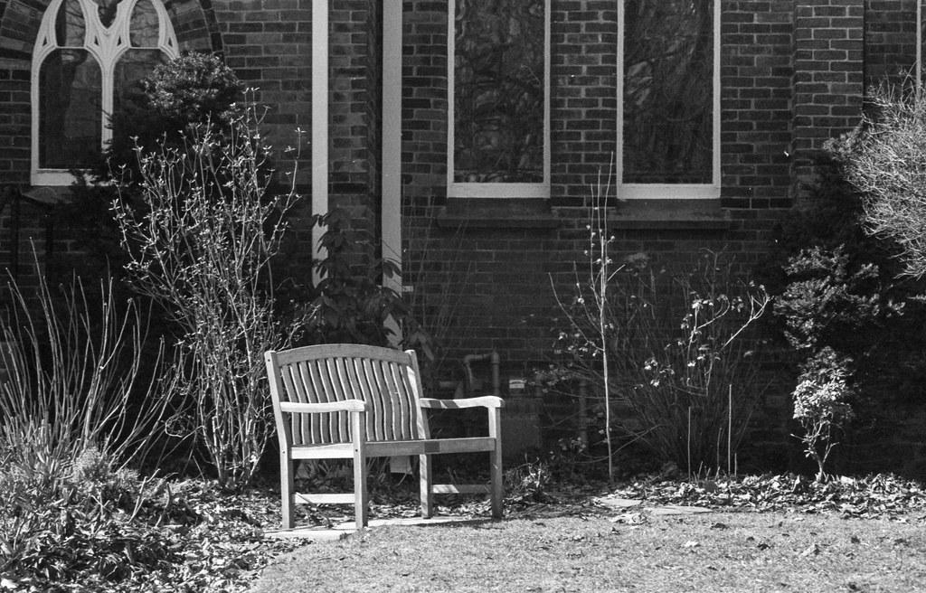 Outdoor Church Bench in the Garden