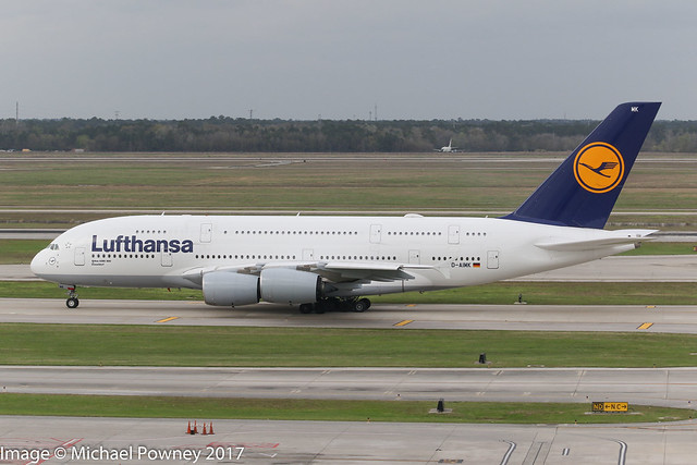 D-AIMK - 2013 build Airbus A380-841, taxiing for departure at Houston