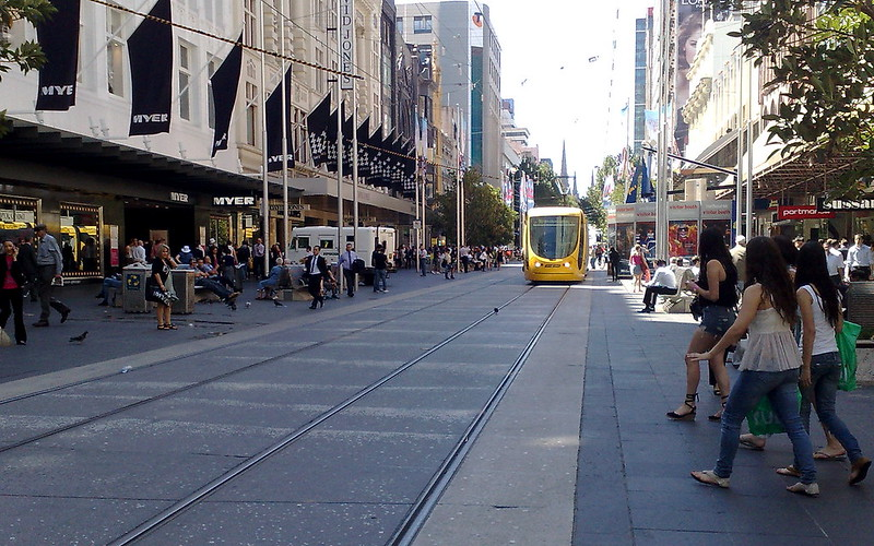 Bourke Street Mall, including illegally parked Armaguard van, March 2011
