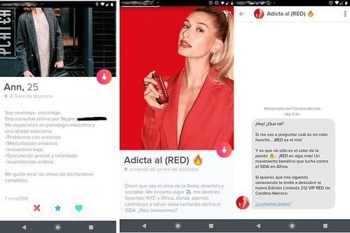 capturas de pantalla de nuevas ideas para publicidades en Tinder. (Perfiles que anuncian cosas)