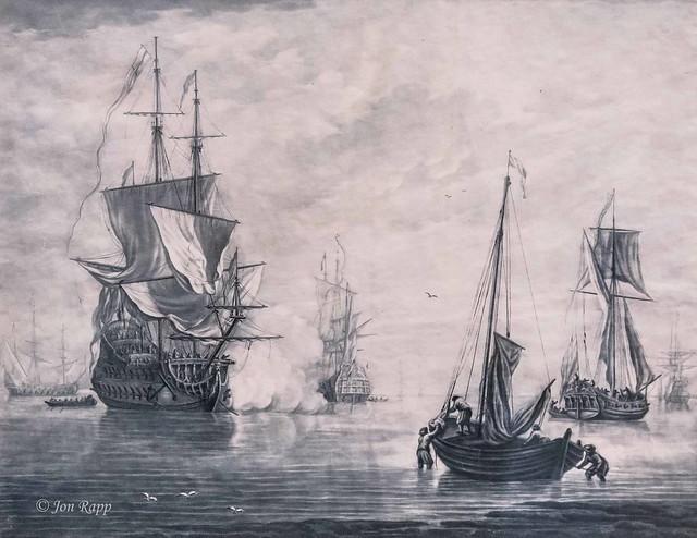 1725-30 Ship Firing On Another mezzotint by Elisha Kirkall (MU) (edit)