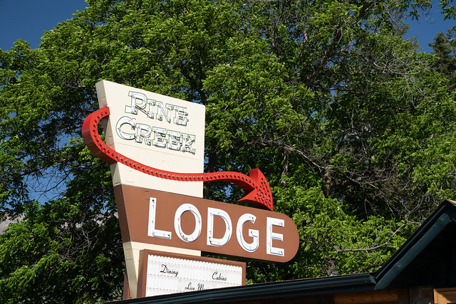 Pine Creek, Montana - July 2, 2020: Vintage, neon sign for the Pine Creek Lodge motel and restaurant