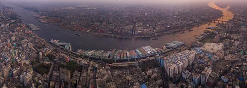 dhaka sunset sky color river top transport aerial bangladesh buriganga