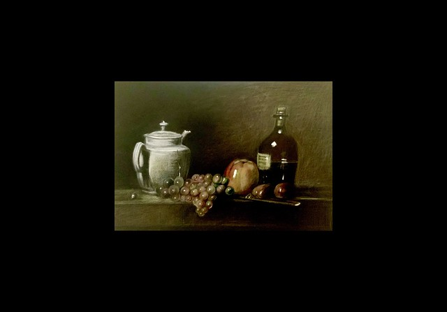 My study Version of a still life painting by Jean-Baptiste-Siméon Chardin.1699-1779. French Painter and Pastelist. Derwent Lightfast coloured pencil drawing by jmsw on black card with highlights in Gouache. Last stage.