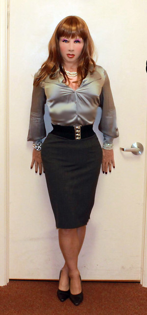 Satin blouse with Pencil skirt