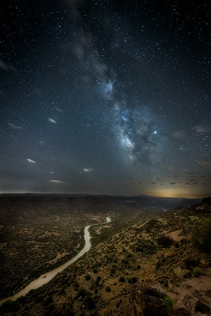 The Milky Way over the Rio Grande River and Jemez Mountains from White Rock Overlook in White Rock, New Mexico