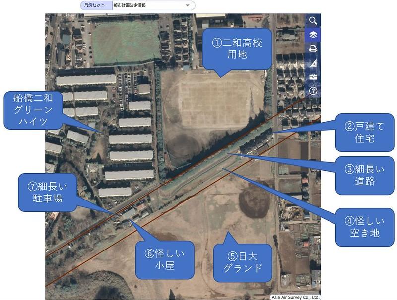 船橋二和高校南側の空間は成田新幹線買収済用地なのか検証する (14)