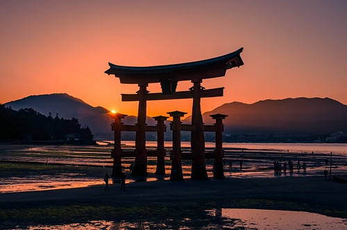 japan miyajima shrine sunset temple