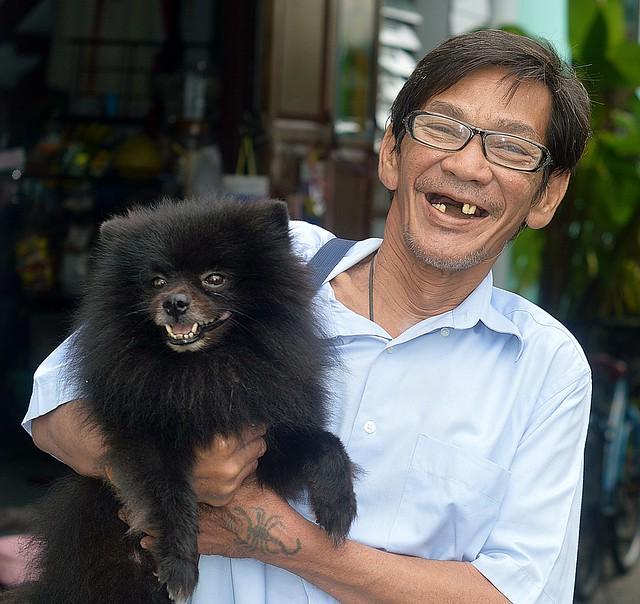 happy man with dog
