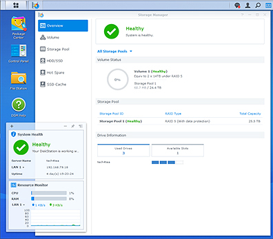 The three Seagate IronWolf Pro 14TB HDDs have been set up in RAID5 in the Synology DS918+ DiskStation. Synology made the entire hardware and software installation really simple and quick and I got the NAS set up in less than 30 minutes.
