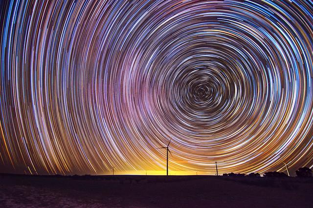 Star Trails at Emu Downs Wind Farm - Cervantes, Western Australia