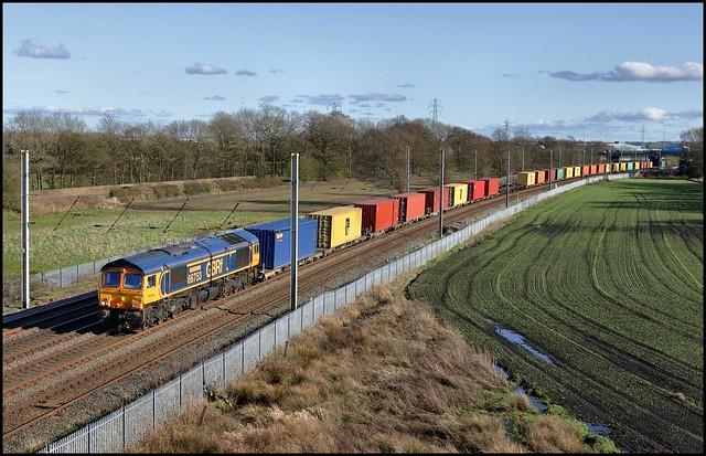 Winwick, GBRf 66753 'EMD Roberts Road' 4F62 (12.58 East Midlands Gateway - Seaforth C.T) 29/03/21.