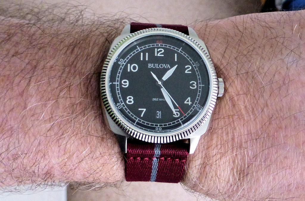bulova military wrist maroon