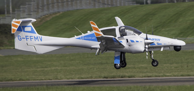 Cobham DA-42 G-FFMV arriving at Cardiff Airport, South Wales, hosted by Global Trek Aviation.