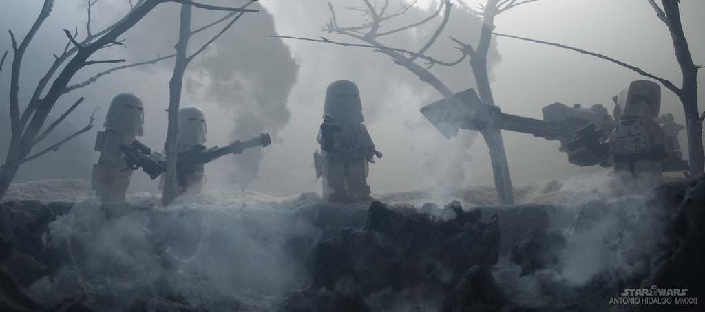 SNOWTROOPERS PATROL IN THE VOLCANIC REGIONS.